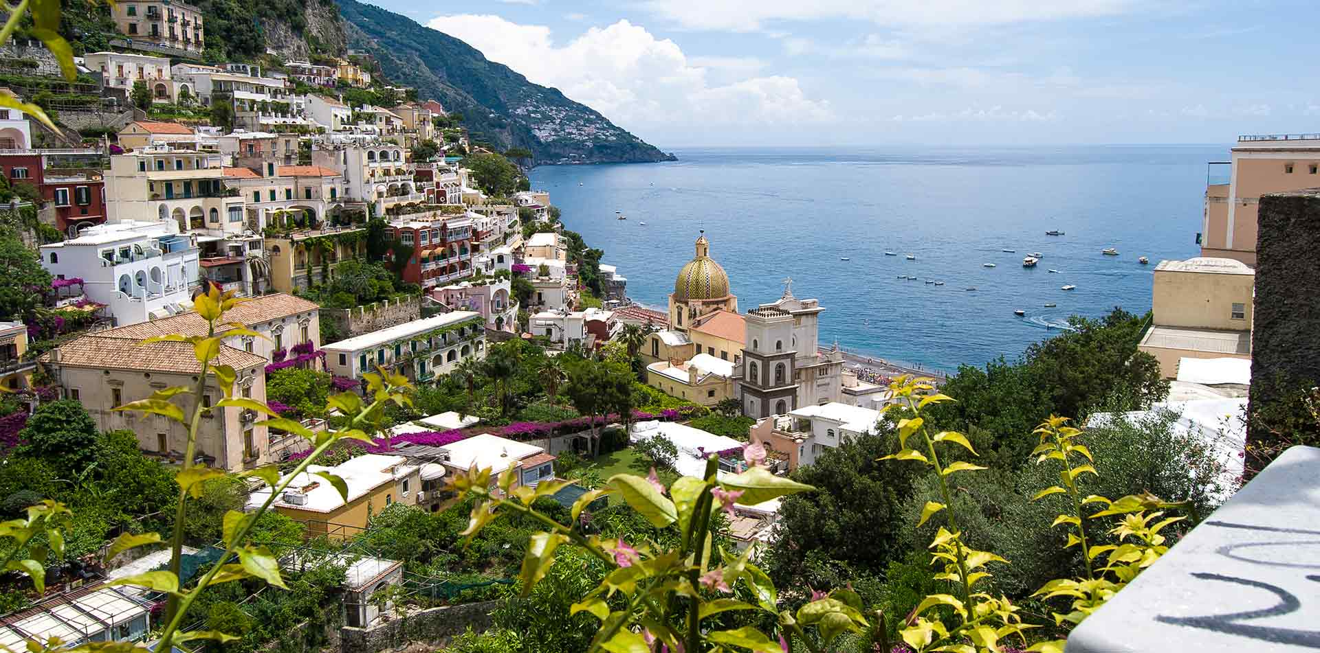 Europe Italy view of Amalfi Coast from Positano beautiful cliffside overlooking sea - luxury vacation destinations