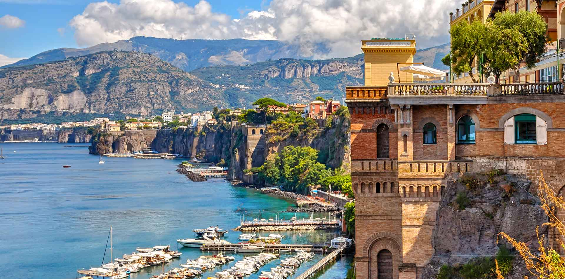 Europe Italy Amalfi Coast Sorrento Positano Marina Piccola cliffs overlooking the ocean - luxury vacation destinations