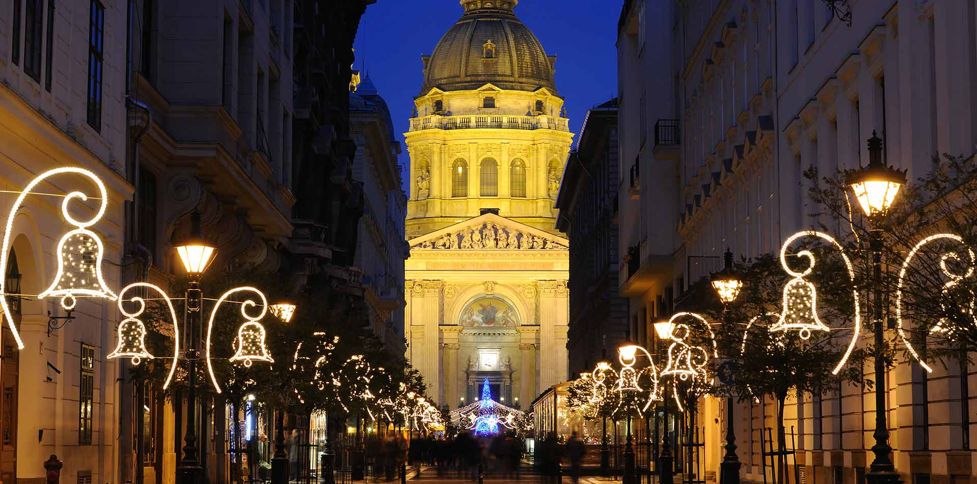 Europe Hungary Budapest traditional Christmas market in St. Stephen's Basilica Square - luxury vacation destinations